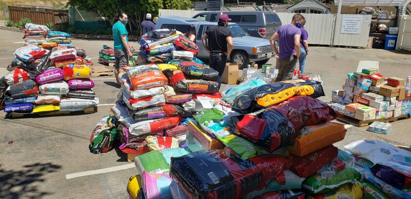 Some of the pallets of pet food and supplies at the Rancho Coastal Humane Society that were distributed to nonprofits.