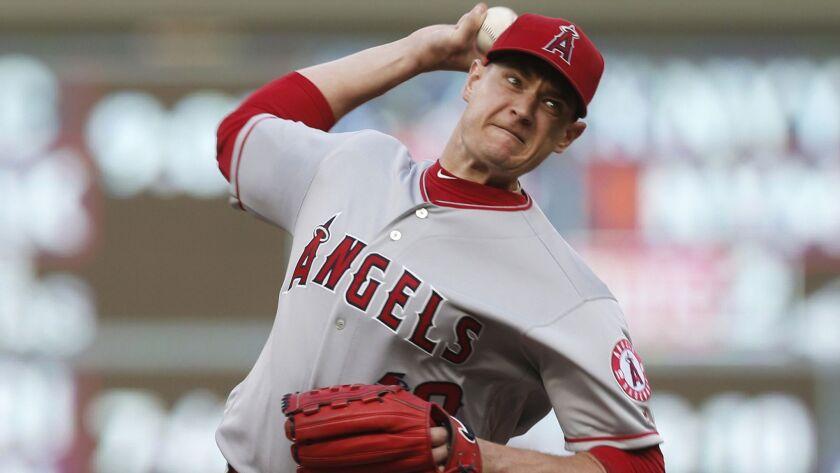 Angels pitcher Garrett Richards throws against the Minnesota Twins in June.
