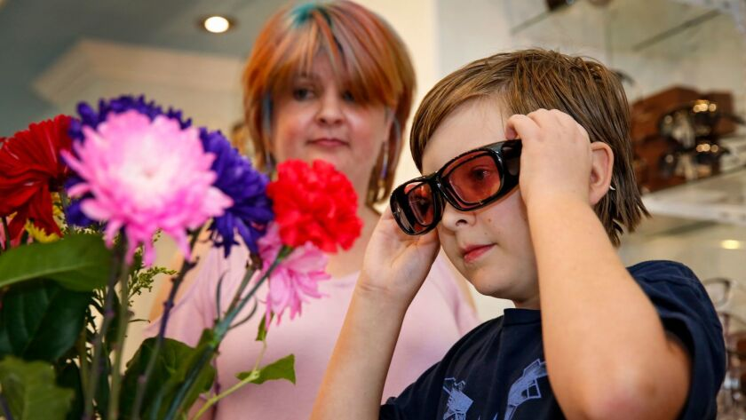 Jake Rasmussen, 12, of El Cajon, observes the difference between Enchroma glasses and his normal vision, just after trying them for the very first time.