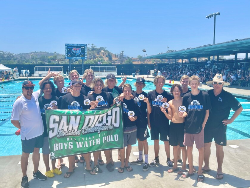 The boys water polo team from Ramona High School won its first CIF Division III championship on June 19.