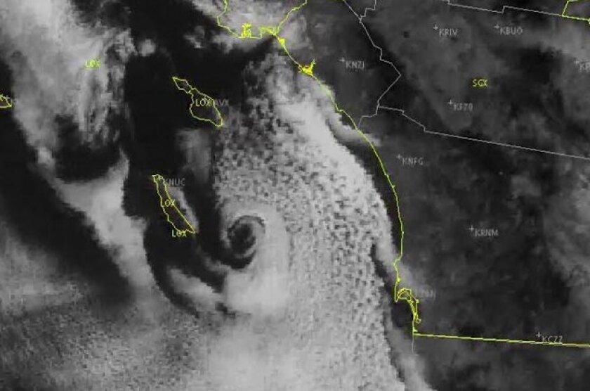 A coastal eddy -- or 'stratocane' -- developed off San Diego early Monday.