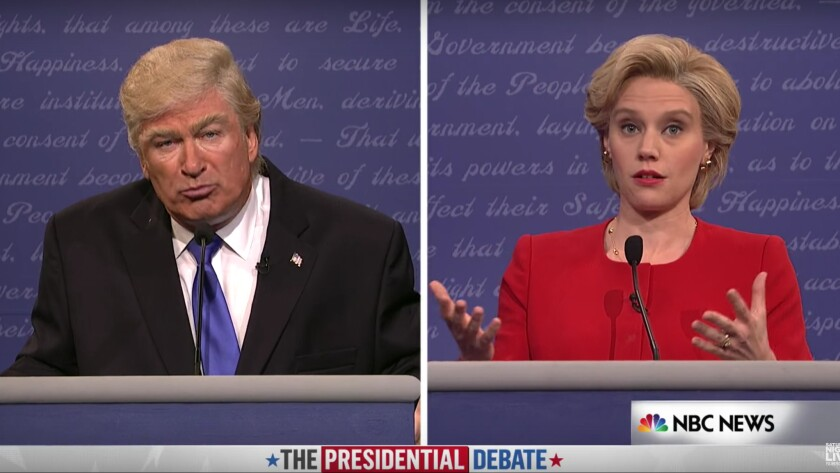 """Alec Baldwin and Kate McKinnon as Donald Trump and Hillary Clinton on """"SNL."""""""