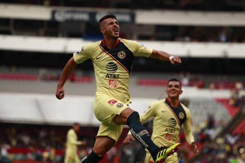 El jugador Guido Rodríguez festeja una anotación ante Atlas. EFE/Archivo