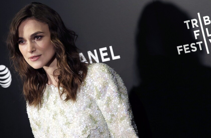 """Keira Knightley in Chanel arrives at the U.S. premiere of """"Begin Again"""" at the Tribeca Film Festival in New York."""