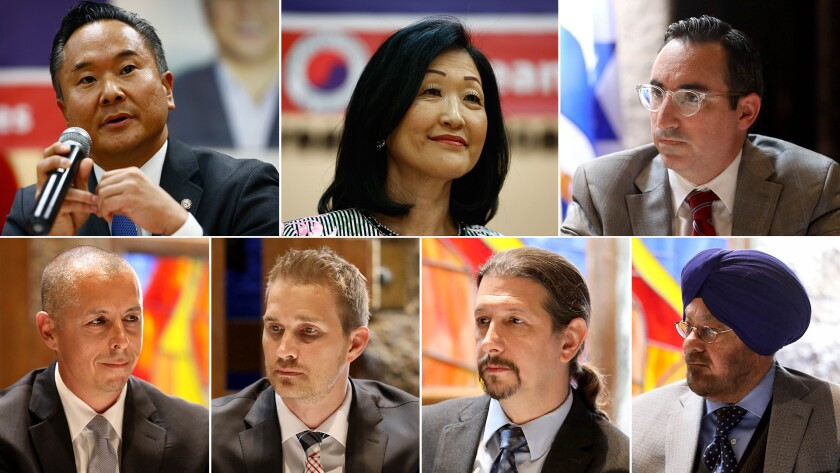 Los Angeles City Council District 12 candidates clockwise from top left; John Lee; Annie Cho; Scott