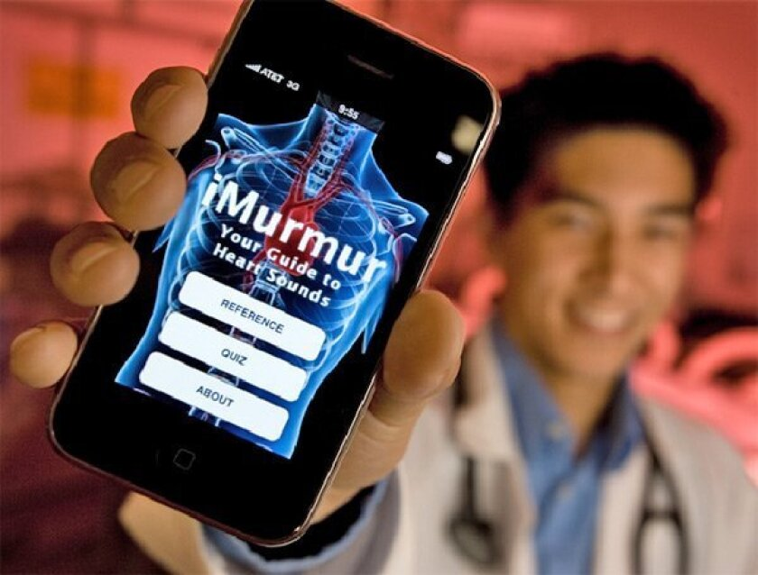 Michael Fujinaka, a UCSD medical student, helped create  the iMurmur application for iPhones, a top-five best-seller  among medical applications. (Howard Lipin / Union-Tribune)