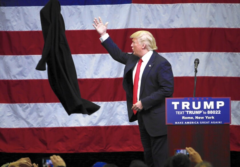 """""""The Republican National Committee, they should be ashamed of themselves,"""" Donald Trump told supporters in upstate New York, alluding to the party nomination process, which already has cost him delegates in several states."""