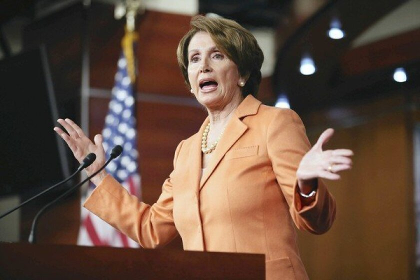 """House Minority Leader Nancy Pelosi (D-San Francisco) seems to have left President Obama little wiggle room on Medicare in the fiscal debate with Republicans. """"Don't even think about raising the Medicare age,"""" she said."""