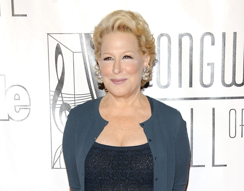 Bette Midler was among the entertainers who lobbied for a ban on single-use plastic grocery bags in California.