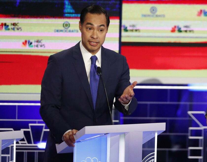 Democratic presidential candidate former Housing Sec. Julian Castro, speaks during the Democratic pr