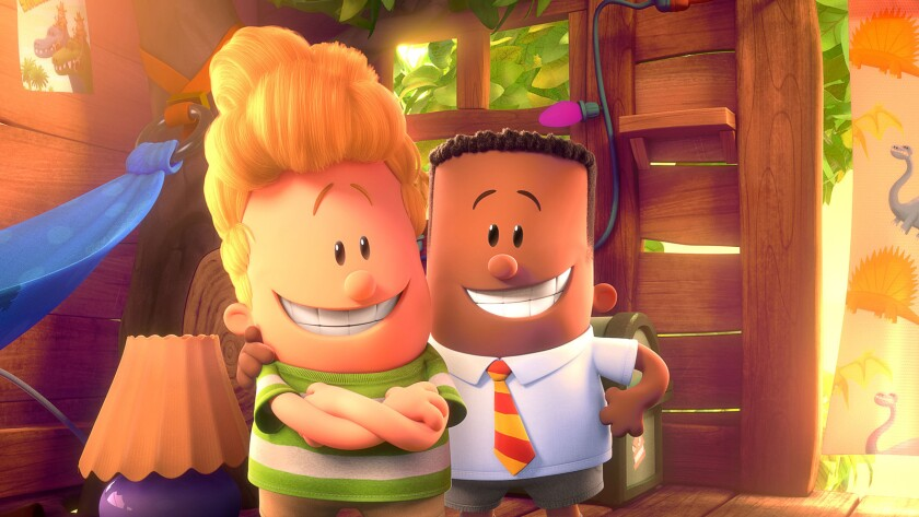 "Harold (voiced by Thomas Middleditch), left, and George (voiced by Kevin Hart) in the animated movie ""Captain Underpants: The First Epic Movie."""
