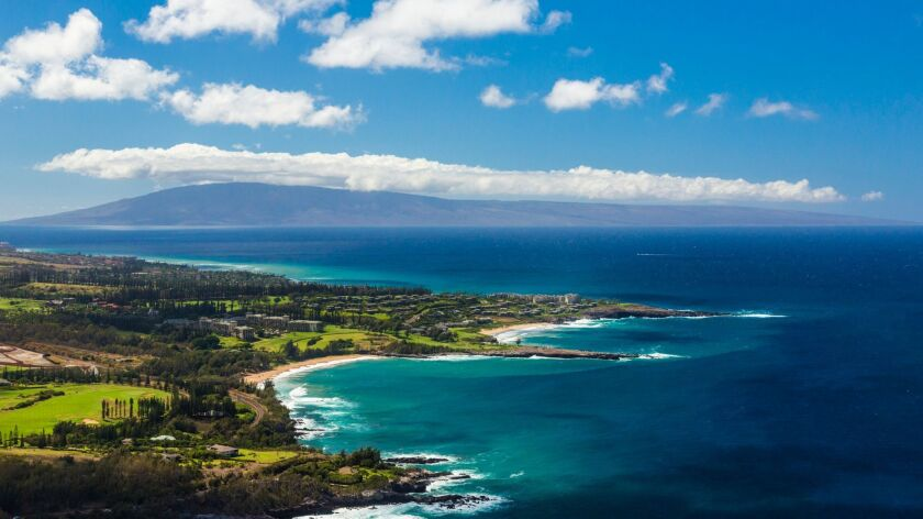 This undated photo provided by the Hawaii Tourism Authority shows a view of the Kapalua coastline in