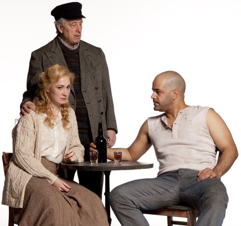 """Bill Buell (Chris Christopherson), Jessica Love (Anna Christopherson) and Austin Durant (Mat Burke) intrigue in 'Anna Christie,"""" directed by Daniel Goldstein. Photo by Henry DiRocco"""