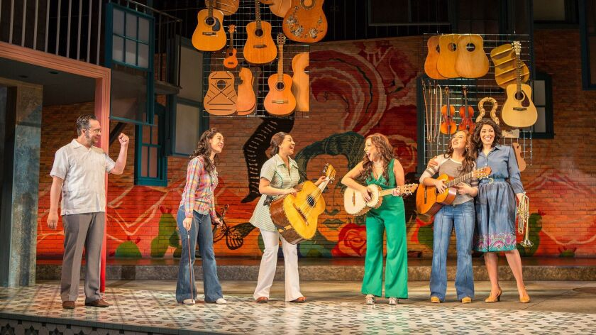 "Rodney Lizcano, Jennifer Paredes, Natalie Camunas, Crissy Guerrero, Heather Velazquez and Amanda Robles (from left) in the Old Globe Theatre's ""American Mariachi."""