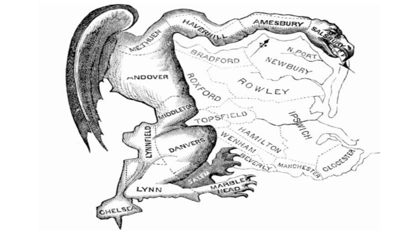 The original Gerrymander, circa 1812...