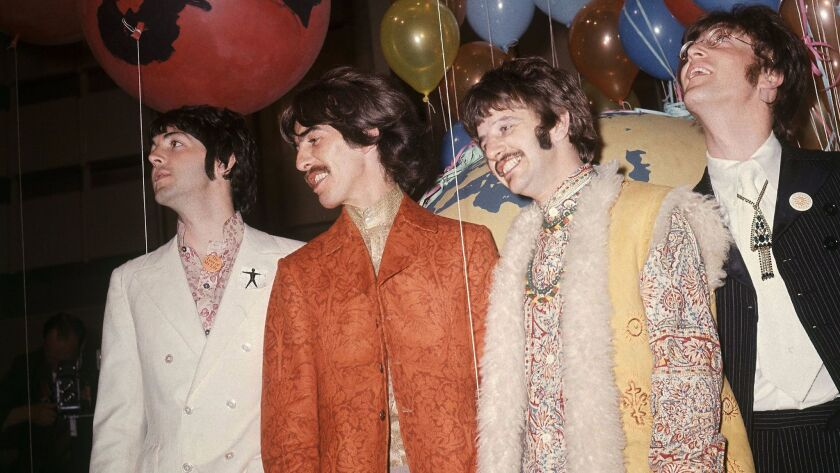 FILE - In this June 1967 file photo, Paul McCartney, from left, George Harrison, Ringo Starr and Joh