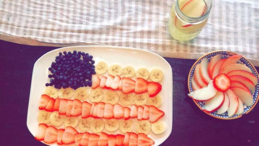 Blueberries, bananas and strawberries can be arranged like the U.S. flag for an Independence Day snack.