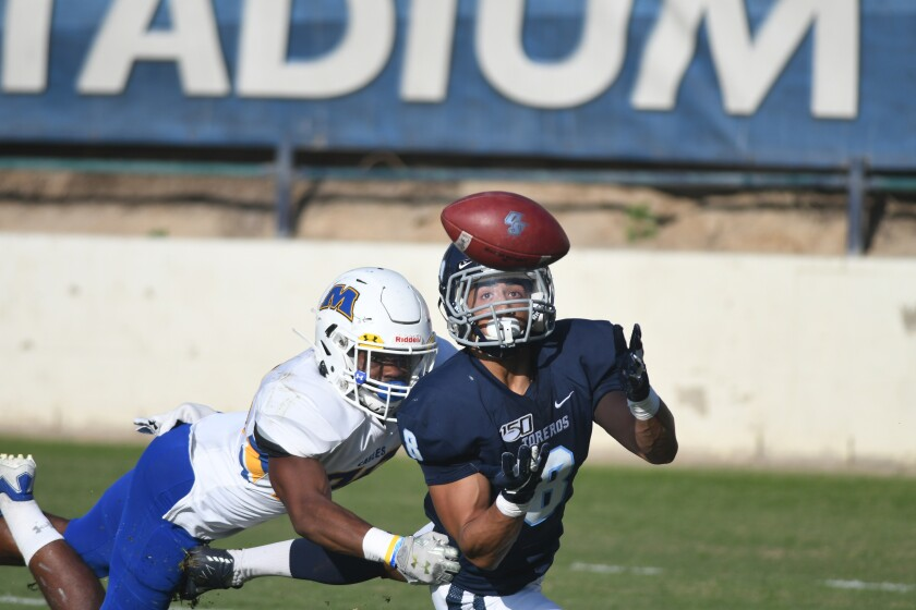 USD receiver Michael Armstead extends for a 32-yard touchdown catch against Morehead State.