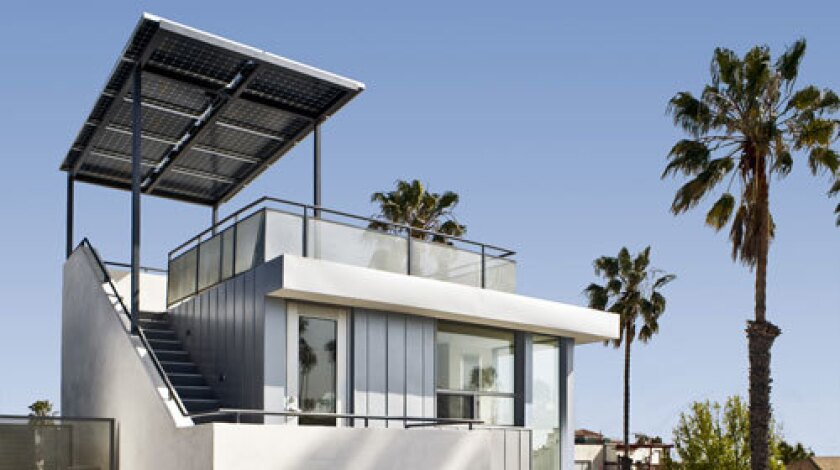 The Green on 19 townhouses, a Santa Monica project by Jesse Bornstein Architecture, uses solar panels as sunshades for rooftop patios. The panels are able to capture not only the sun's ray from above, but also any reflected rays that bounce off the rooftop to the underside of the panels.