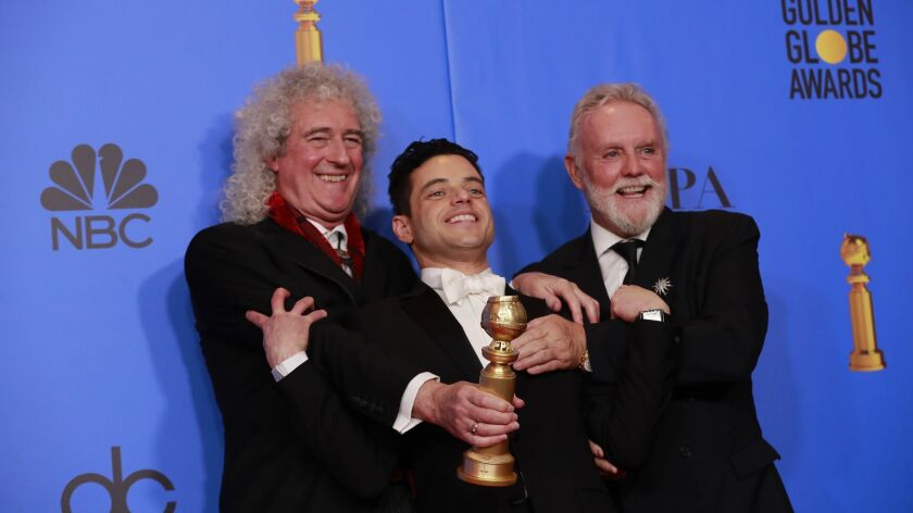 BEVERLY HILLS, CA-JANUARY 06: (l to r) Brian May, Rami Malek and Roger Taylor in the Trophy Room