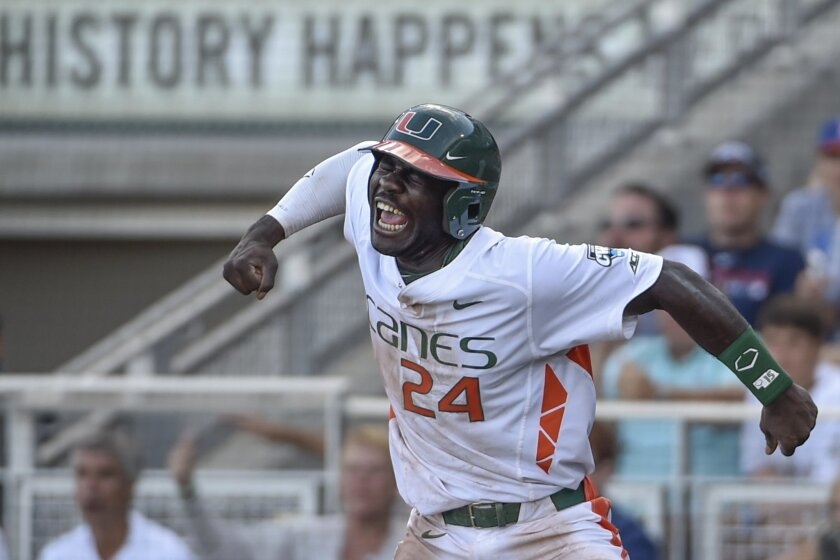 FILE - In this June 15, 2015, file photo, Miami's Jacob Heyward celebrates a go-ahead run after a series of throwing errors by Arkansas during an NCAA College World Series baseball elimination game in Omaha, Neb. Heyward, the younger brother of Chicago Cubs' Jason Heyward, was the hottest 9-hole hi