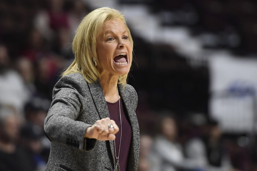 Florida State head coach Sue Semrau reacts in the first half of an NCAA college basketball game against Michigan, Sunday, Dec. 22, 2019, in Uncasville, Conn. (AP Photo/Jessica Hill)