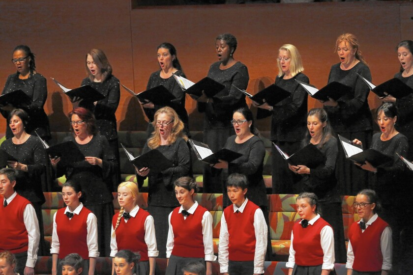Women of the Los Angeles Master Chorale and the Los Angeles Children's Chorus, along with the L.A. Phil, perform Mahler's Symphony No. 3 at the Walt Disney Concert Hall.