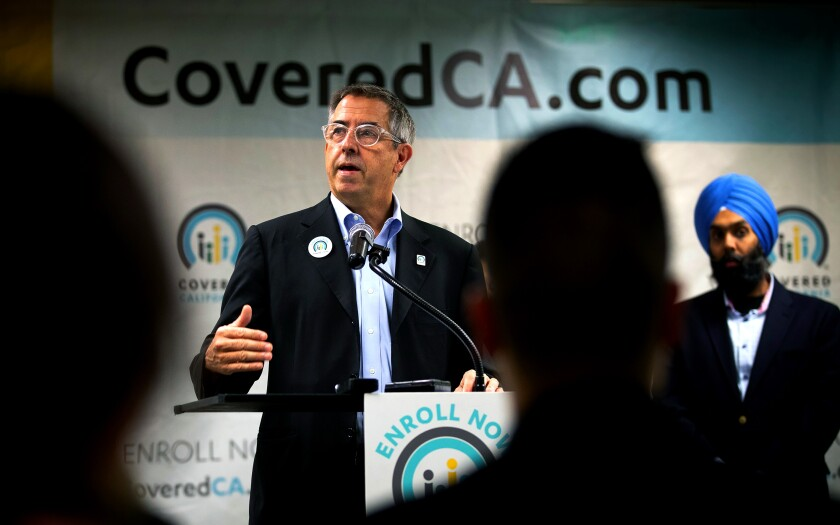 Peter Lee, executive director of Covered California, speaks in Los Angeles on Oct. 16, 2019.