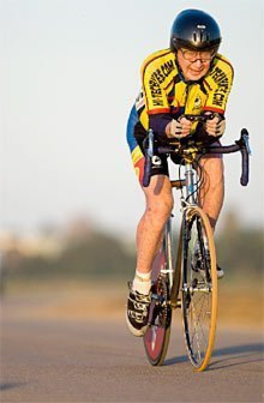 Gordy Shields, at age 89, shattered a national record in the 20-kilometer time trial at Fiesta Island.