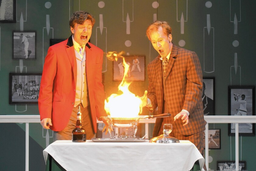 "William Connell and Dan Donohue perform in ""One Man, Two Guvnors,"" written by Richard Bean, with music by Grant Olding and direction by David Ivers."