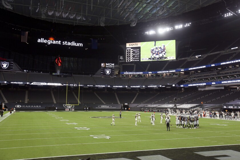 Hernandez Raiders Open New Stadium In Vegas Minus Fans Much To Disappointment Of L A Travelers Los Angeles Times