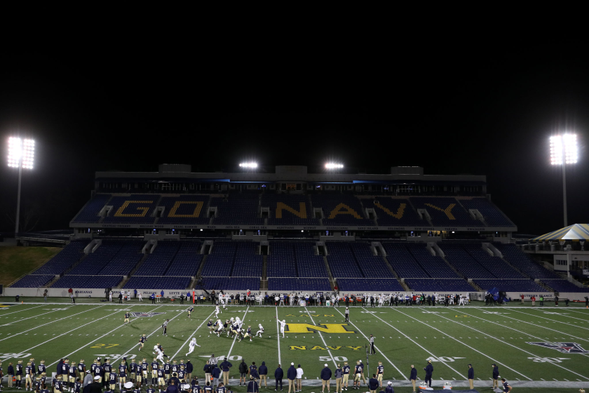 Memphis and Navy play in an empty Navy-Marine Corps Memorial Stadium on Nov. 28.