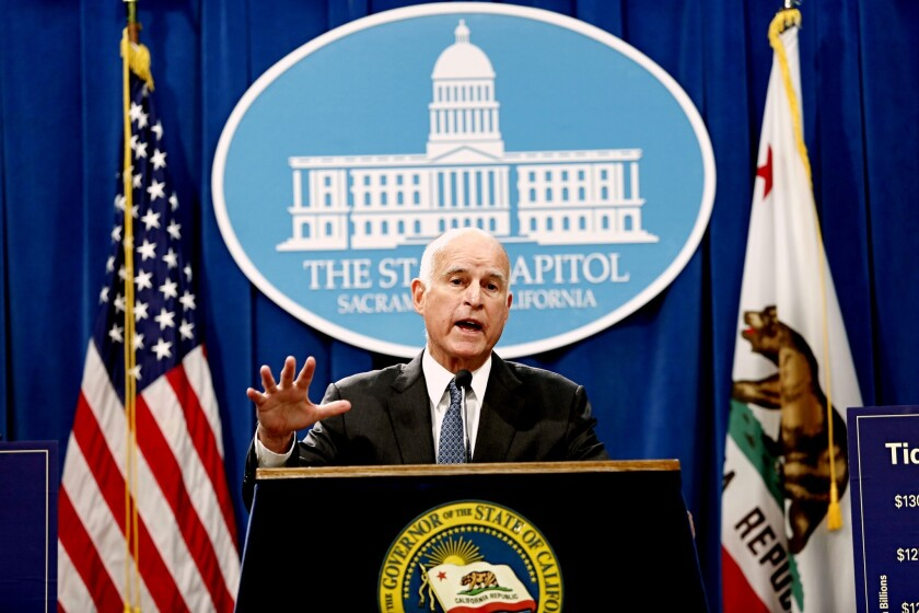 Gov. Jerry Brown releases his proposed budget for 2017-18 at the state Capitol in Sacramento on Tuesday.