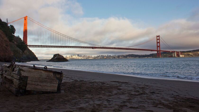 View of Golden Gate bridge from Kirby Cove campground