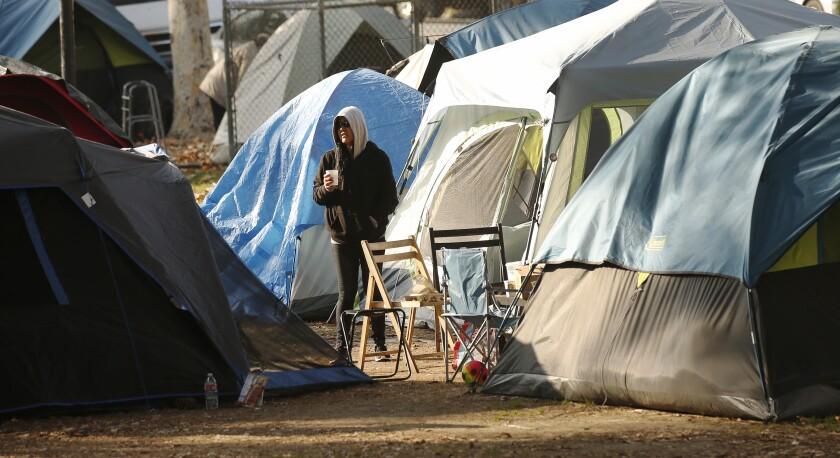 A homeless encampment in Echo Park.