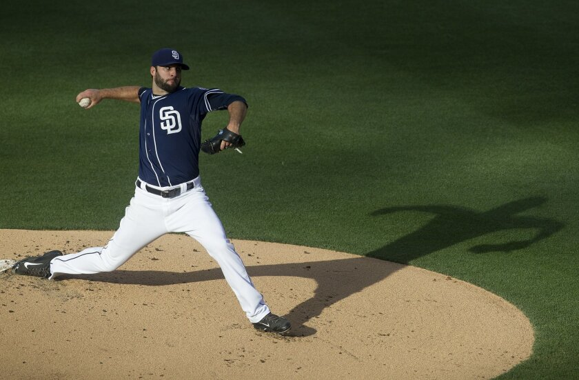 San Diego Padres vs. Colorado Rockies at Petco Park. San Diego Padres starting pitcher Brandon Morrow (21) on the mound in the first inning.