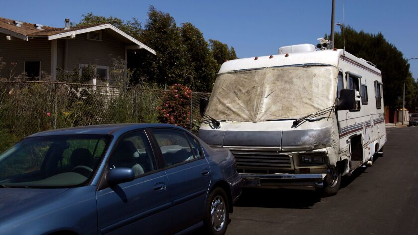 A Dolphin 3140 recreational vehicle parked in Venice, Calif. on June 19, 2014. Its owner has been on again off again homeless since he moved to California from Minnesota in 2003.