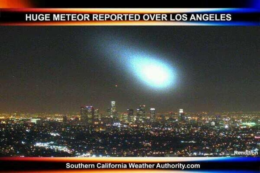 "This totally fake looking picture was published on Twitter by @PzFeed Wednesday night as people flocked to the site to figure out what the bright lights they had seen in the skies about 8 p.m. might have been. Note the word ""rendition"" in the lower right corner."