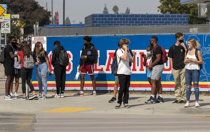 Students outside Los Alamitos High School last year.