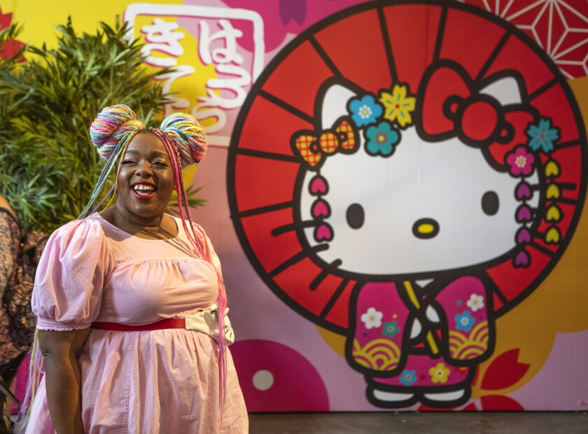 Amina Mucciolo of Los Angeles tours the Tokyo room inside the Hello Kitty Friends Around the World Tour inside L.A. Plaza Village in downtown Los Angeles.