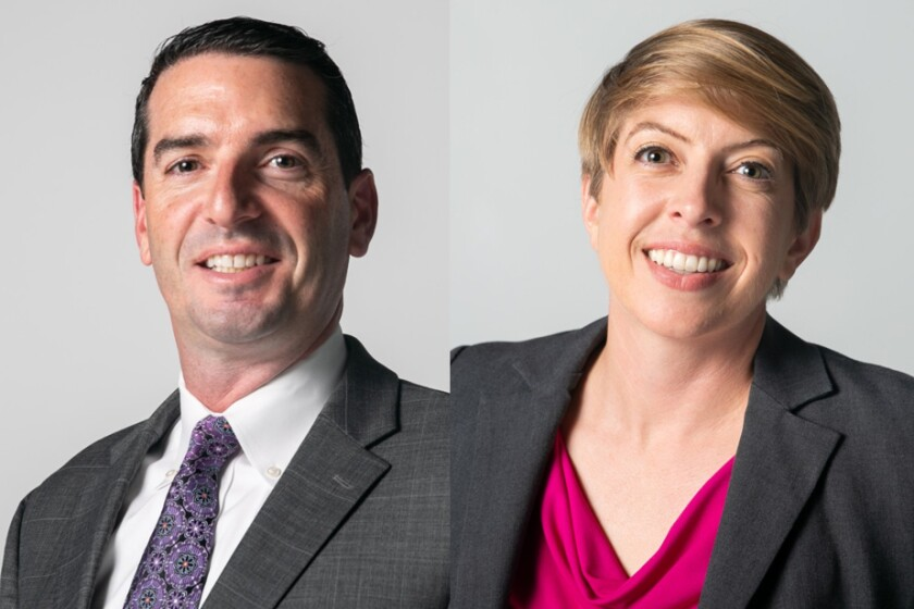 Joe Leventhal, left, and Marni von Wilpert, right, candidates for San Diego City Council District 5