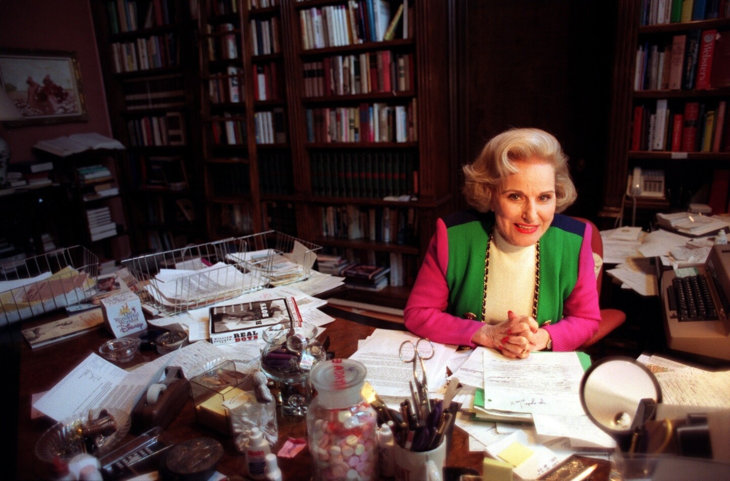 "Pauline Friedman Phillips, a.k.a. Abigail Van Buren, takes a break from reading letters for her ""Dear Abby"" column inside her home office in Beverly Hills."