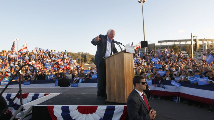 Presidential candidate Bernie Sanders speaks at a rally at Qualcomm Stadium.
