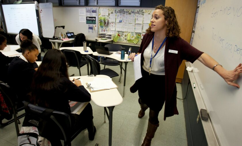 First year teacher, Kara Alhadeff,  part of the Teach For America program, teaches her 9th grade geometry class at Gompers Preparatory  Academy in East San Diego.