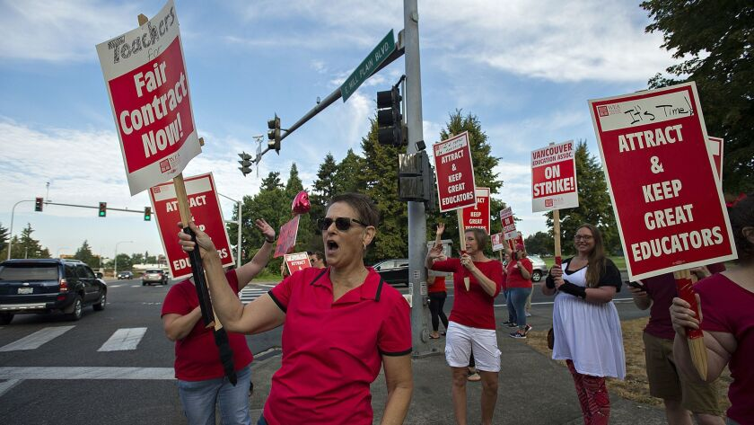 Teachers on strike in Vancouver, WA. on Aug. 29.