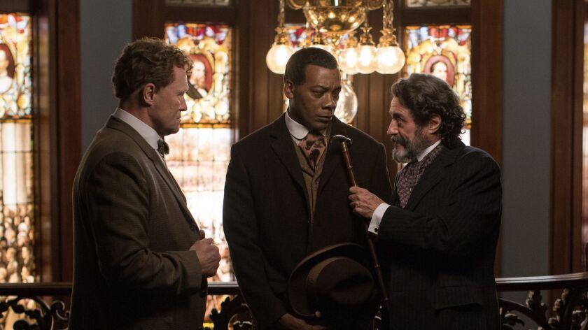 (L-R)- Michael Rooker as Pat McMurphy, Erik LaRay Harvey as Bartley and Ian McShane as Judge Perry i