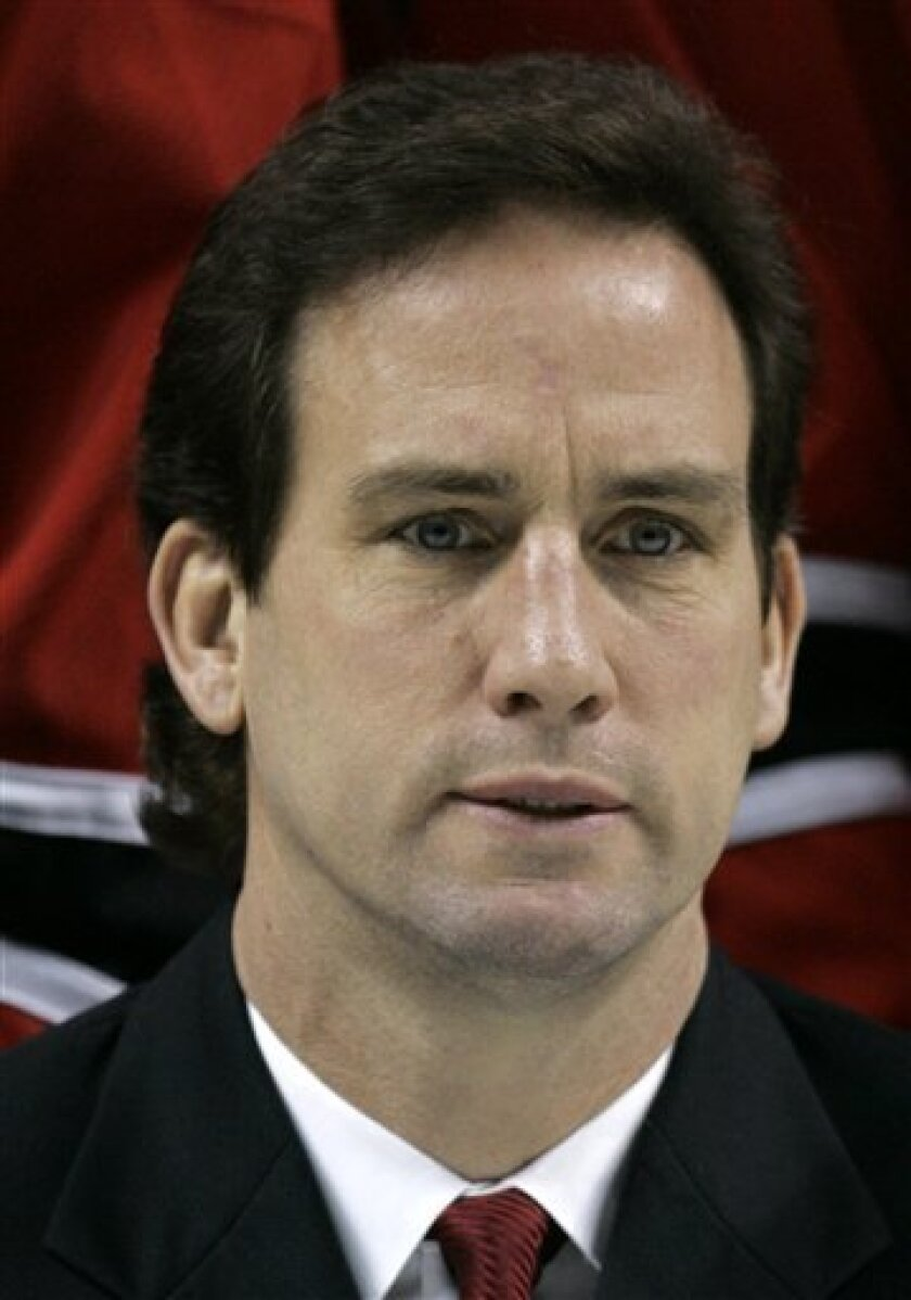 This Tuesday April 11, 2006 picture shows Buffalo Sabres assistant coach Scott Arniel during an NHL hockey team photograph at HSBC Arena, in Buffalo, N.Y. The Columbus Dispatch is reporting Monday, June 7, 2010 Manitoba coach Scott Arniel has been hired for the same job with the Blue Jackets. (AP Photo/David Duprey)