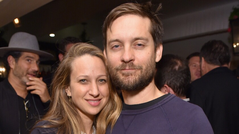 Jennifer Meyer and Tobey Maguire appear at an event in March 2016.