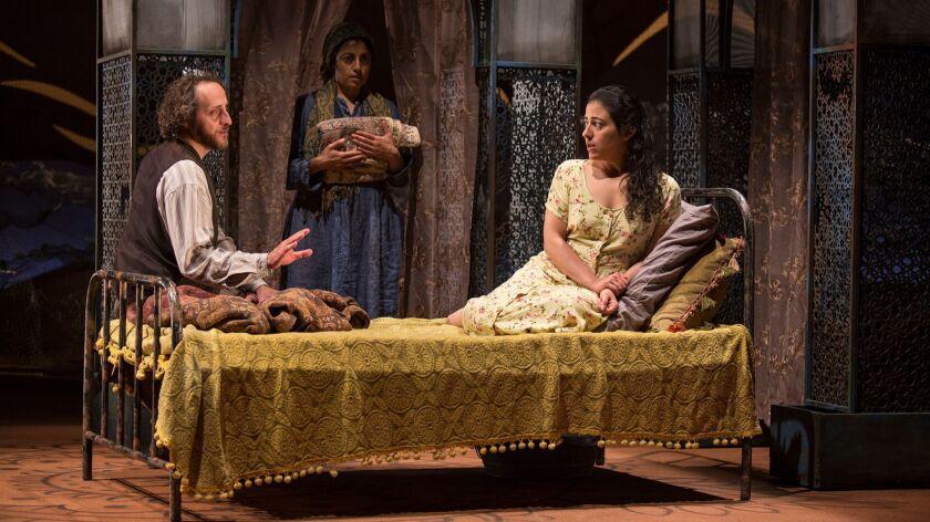 "Haysam Kadri as Rasheed, left, Denmo Ibrahim as Mariam and Nadine Malouf as Laila in ""A Thousand Splendid Suns"" at the Old Globe."