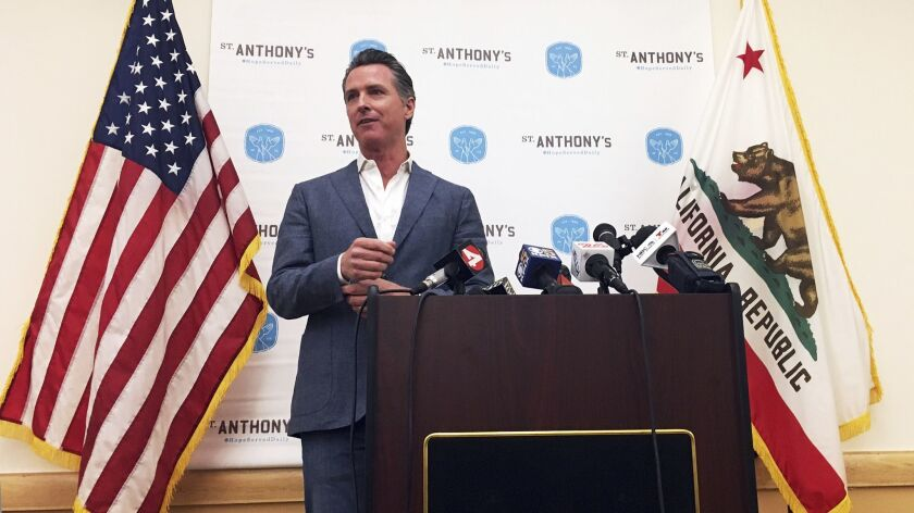 Gov.-elect Gavin Newsom on Thursday in San Francisco makes his first public comments after his election. He dedicated much of the time to the deadly mass shooting in Thousand Oaks.